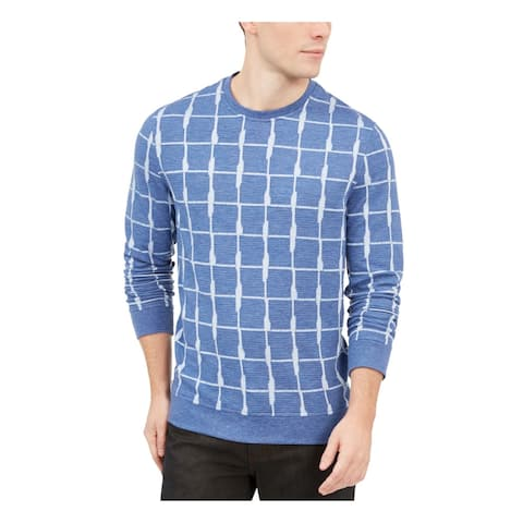 Alfani Men's Textured Grid Pullover Jacquard Blue Size Medium