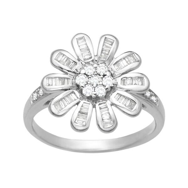 3/8 ct Diamond Flower Ring in 14K White Gold