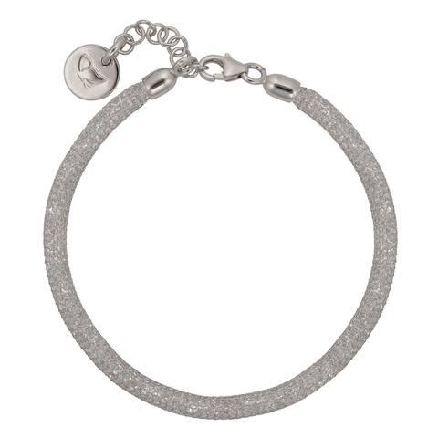 Bronzoro 18 k Gold Overlay Black Mesh Bracelets