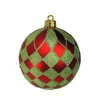"""Pack of 4 Matte Red and Lime Green Glitter Diamond Christmas Ball Ornaments 4.75"""" (121mm)"""