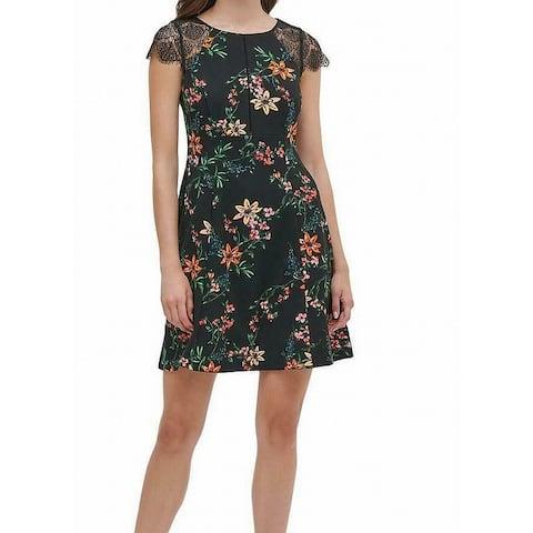 Kensie Women's Dress Black Size 14 A-Line Lace Yoke FLoral Print