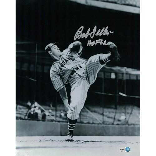 Bob Feller Autographed Cleveland Indians 8x10 Photo Leg Kick HOF MLB