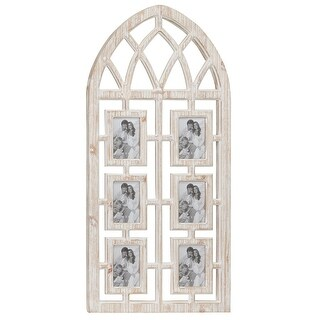 """Link to Whitewashed Cathedral Wood Picture Frame Photo Collage Wall Decor w 6 Photo Holders 19"""" x 41"""" Similar Items in Decorative Accessories"""