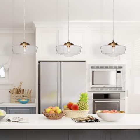 """Modern Gold 1-Light Glass Kitchen Pendant Lighting for Dining Room - D 9.6"""" * H 5.9"""""""