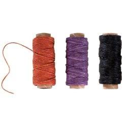 Lavender; Orange-Gold; Black; 20Yd Each - Waxed Linen 5 Ply Thread 3/Pkg