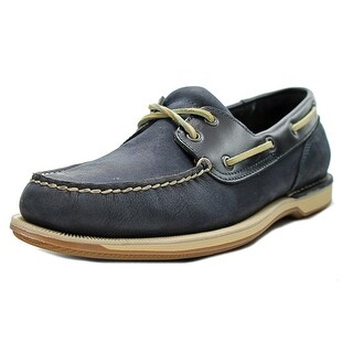 Rockport Perth Men Moc Toe Leather Blue Boat Shoe
