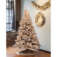 7.5' Pre-Lit Snowy Pine Flocked Medium Artificial Christmas Tree - Clear Lights - WHITE