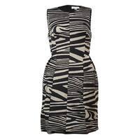 Calvin Klein Women's Striped Scuba Knit A-Line Dress - Black/Khaki - 2