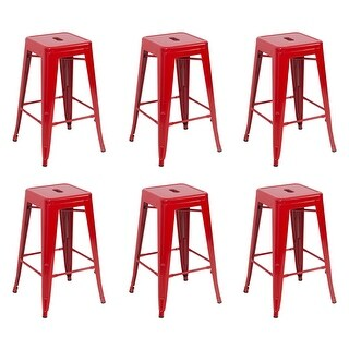 Belleze 6-Piece Metal Bar Stool Industrial Stackable, 26-Inch, Red
