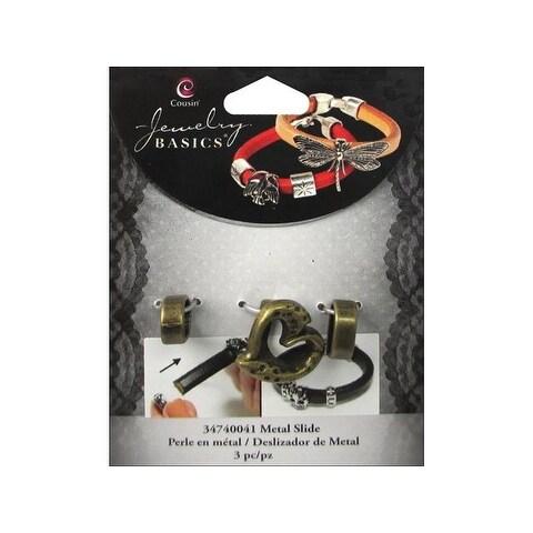 Cousin Slide Charm Metal Heart Gold 3pc