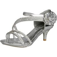 Lucky Top Girls F 32K Little Girls Rhinestone Heel Platform Dress Sandals Silver