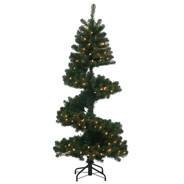 5.5' Pre-Lit Spiral Pine Artificial Christmas Tree - Clear Dura-Lit Lights