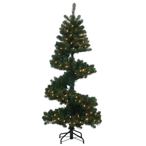 7' Pre-Lit Spiral Pine Artificial Christmas Tree - Clear Dura-Lit Lights - green