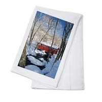 Red Covered Bridge in Snow - LP Photography (100% Cotton Towel Absorbent)
