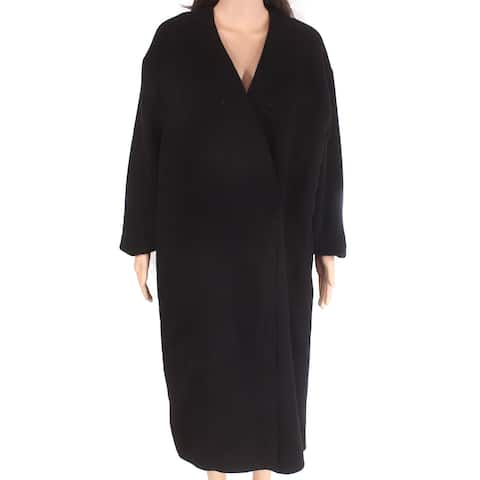 Sportmax Code Women's Ordito Coat Black Size 10 V-Neck Single-Button