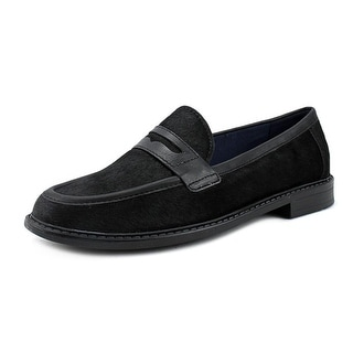 Cole Haan Pinch Campus Penny Women 2A Round Toe Suede Black Loafer