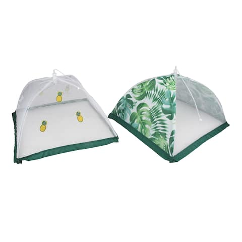 """Set of 2 Green and White Tropical Mesh Food Tent For Outdoors - 14"""" - N/A"""