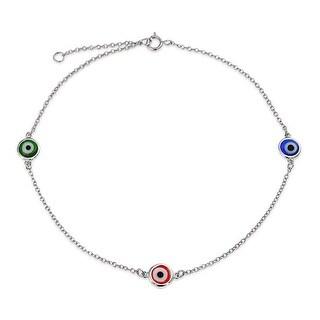 925 Sterling Silver Multi Color Evil Eye Anklet Bracelet 9in