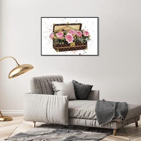 Oliver Gal Fashion and Glam Wall Art Framed Canvas Prints 'Doll Memories - Trunk of Roses' Travel Essentials - Brown, Pink