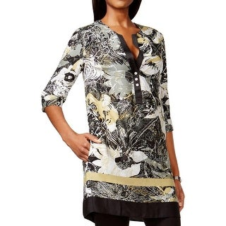 Grace Elements Womens Tunic Top Printed Split Neck