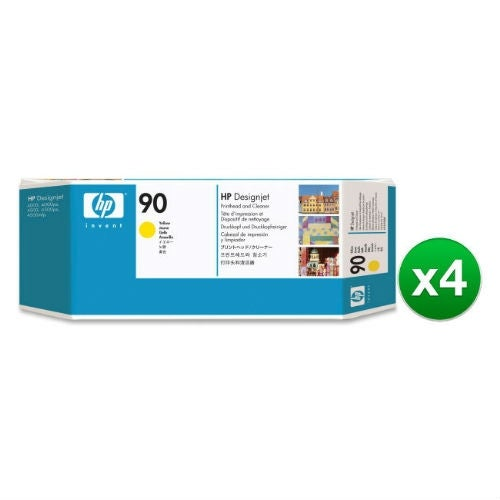 HP 90 Yellow DesignJet Printhead & Printhead Cleaner (C5057A) (4-Pack)