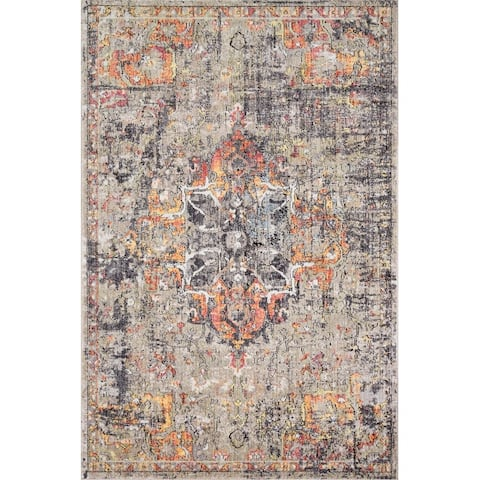 Alexander Home Athens Boho Abstract Sunset Distressed Area Rug