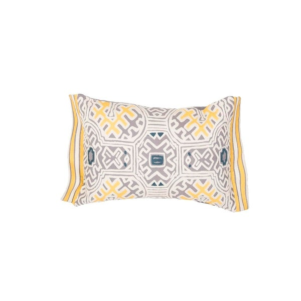 """20"""" Yellow Tan and Fossil Gray Tribal Pattern Decorative Throw Pillow"""