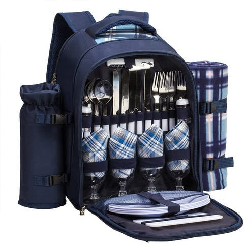 4 Person Red Picnic Backpack with Cooler Compartment Includes Tableware & Fleece Blanke