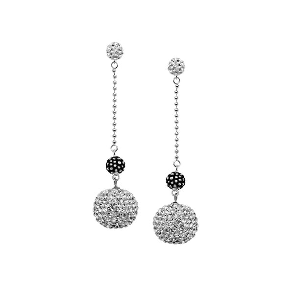 Aya Azrielant Drop Earrings with White Swarovski Crystals & Silver Beads set in Sterling Silver
