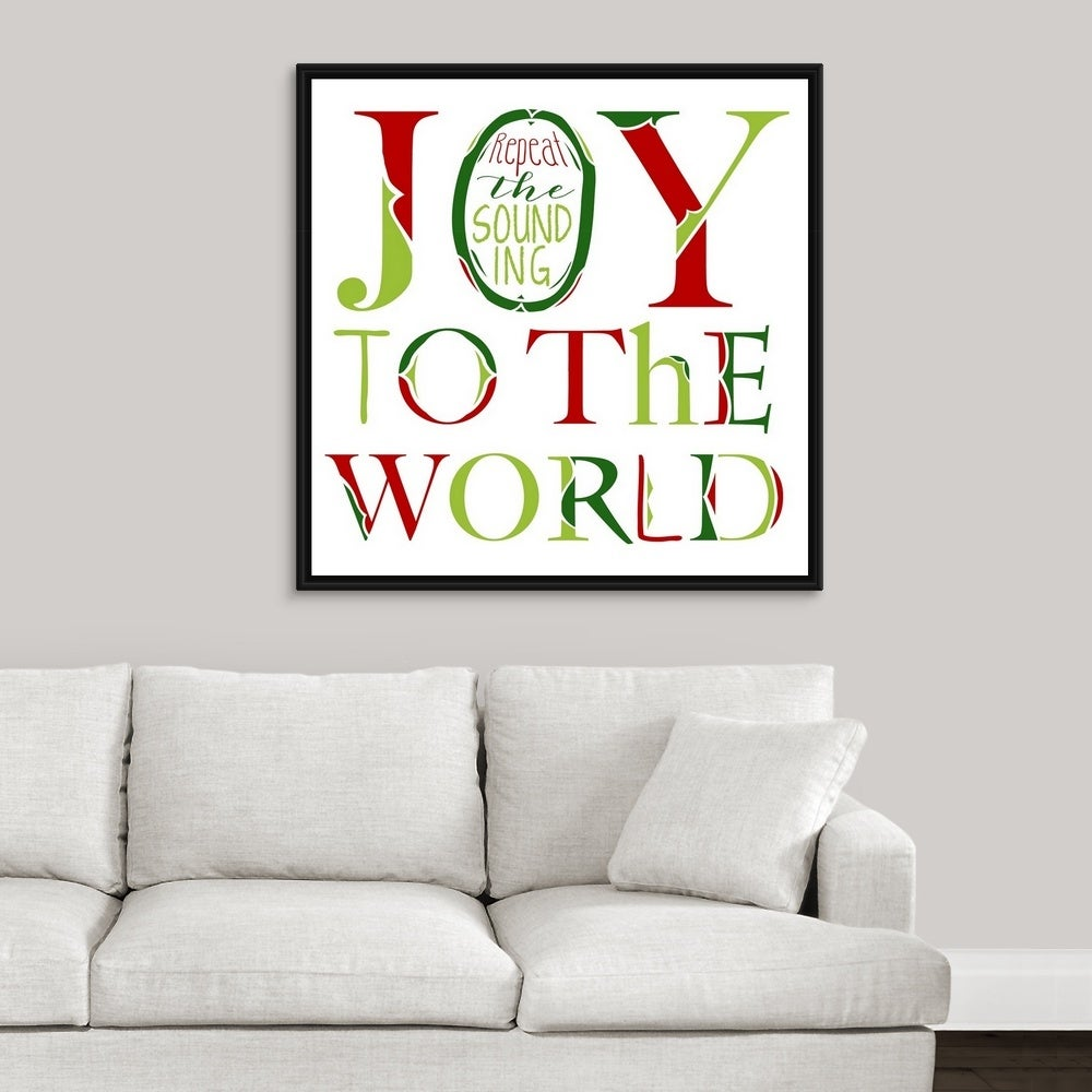 Joy To The World On White Black Float Frame Canvas Art Overstock 26973690