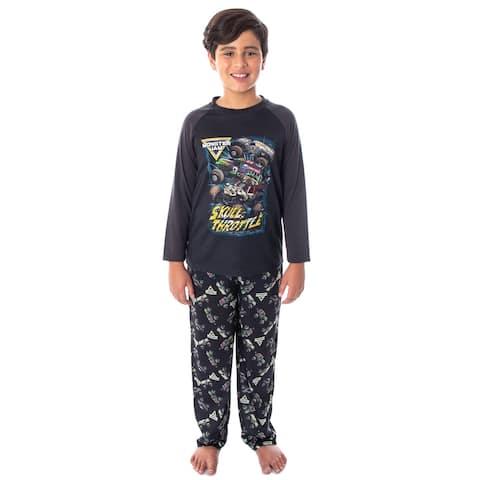 Monster Jam Boys' Pirate's Curse MAX-D Grave Digger Monster Truck Pajama Set