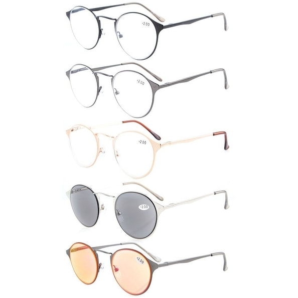 Eyekepper 4-Pack Crystal Clear Vision Comfort Spring Arms Round Reading Glasses Included Sun-readers +1.75