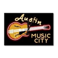 Austin, TX - Neon Guitar Sign - LP Artwork (Acrylic Wall Clock) - acrylic wall clock