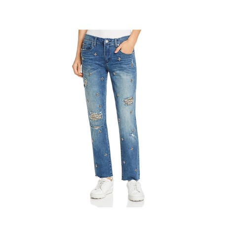 Blank NYC Womens Girlfriend Jeans Embellished Distressed