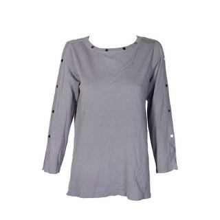 Alfani Grey Sliver Embellished Pullover Sweater  M