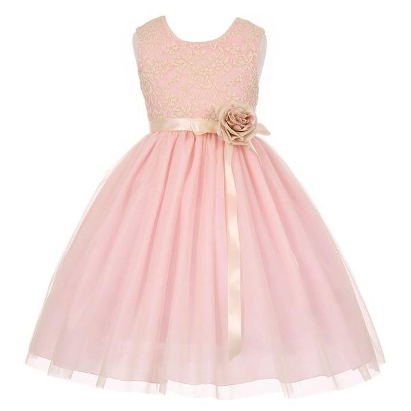 f7521dfba25ce Girls Pink Lace Satin Sash Corsage Tulle Junior Bridesmaid Dress 8-14