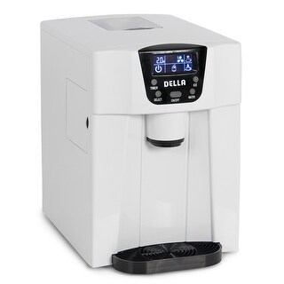 Della Freestanding Water Dispenser with Built-In Ice Maker Machine 26lbs per day, 2-Size Cube, White