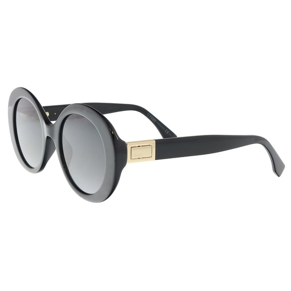 accaa7b3be6 Shop Fendi FF0293S 0807 Black Oval Sunglasses - 52-22-140 - On Sale ...