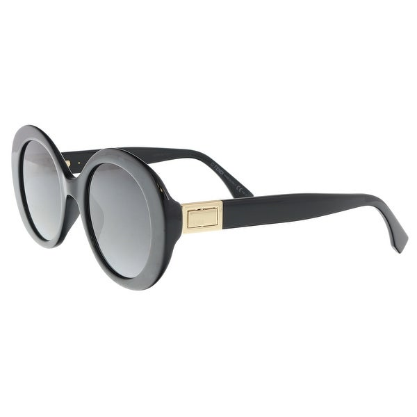 50a89931d97 Shop Fendi FF0293S 0807 Black Oval Sunglasses - 52-22-140 - Free ...
