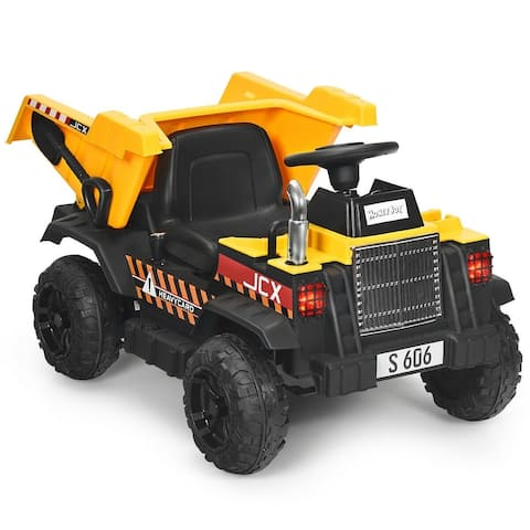 """12V Battery Kids Ride On Dump Truck with Electric Bucket - 42.5"""" x 25.5"""" x 23"""" (L x W x H)"""