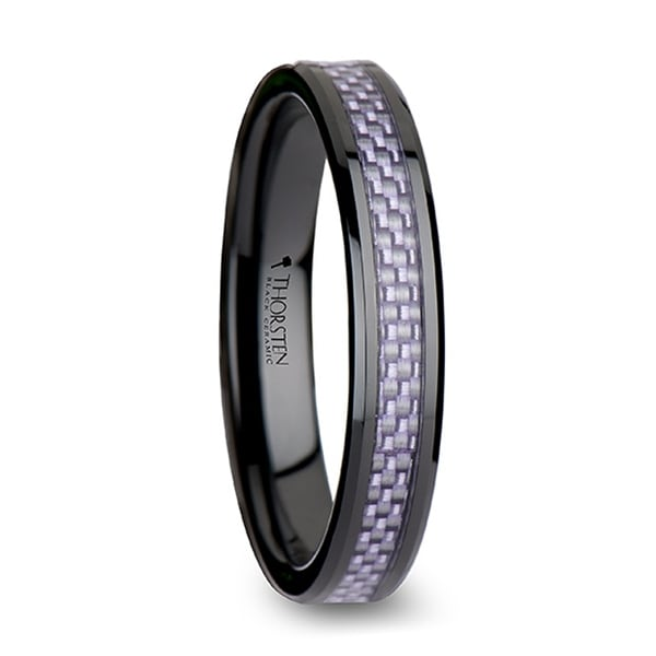 THORSTEN - LILAC Beveled Black Ceramic Ring with Purple Carbon Fiber Inlay - 4mm