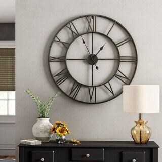 "Link to Walplus Large Roman Black Silver Iron Wall Clock 22"" Minimal Decor Art Similar Items in Decorative Accessories"