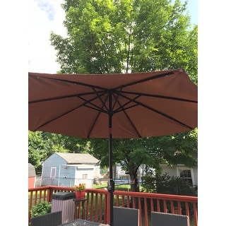 ... Tan 9 Foot Deluxe Solar Powered LED Lighted Patio Umbrella By Trademark  Innovations ...
