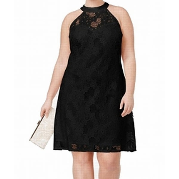Love Squared Black Women's Size 3X Plus Lace Halter A-Line Dress