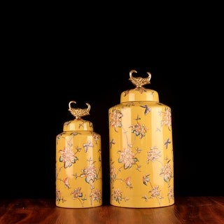 G Home Collection Luxury Handcrafted Yellow Flower Pattern Accent Porcelain Jar With Copper Lid
