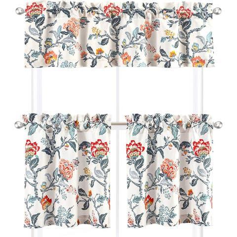 DriftAway Ada Sketch 3 Pieces Rod Pocket Kitchen Window Curtain - 58''x14''x1+29''x24''x2