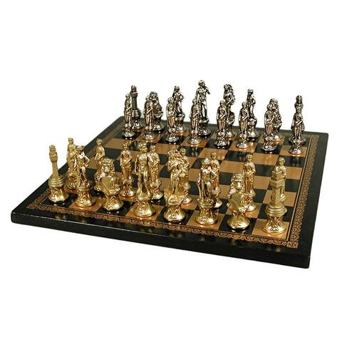 Florence Men Chess Set With Leather Board - Multicolored - 1.25 X 13 X 13 inches