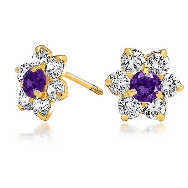 Bling Jewelry Kids 14k Gold Purple Cz Back Flower Stud Earrings