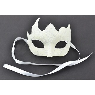 "8"" Ivory Glitter Decorative Half Mask"