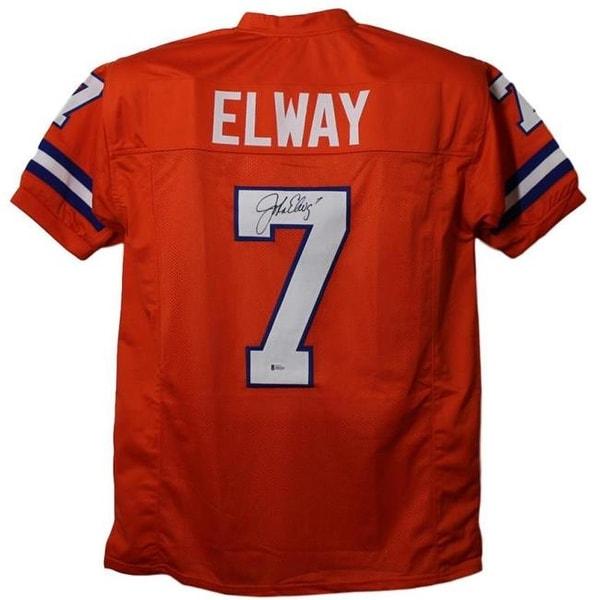 competitive price 8ef8d e68f7 John Elway Autographed Denver Broncos Orange BAS Jersey - Extra
